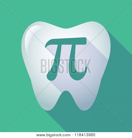 Long Shadow Tooth Icon With The Number Pi Symbol