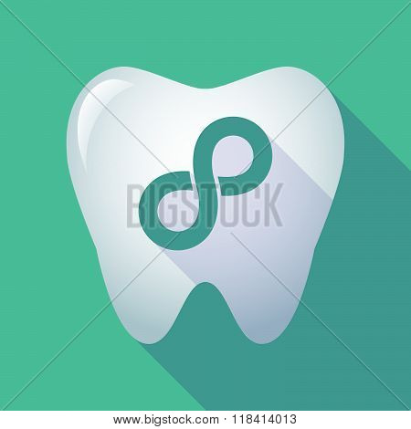 Long Shadow Tooth Icon With An Infinite Sign