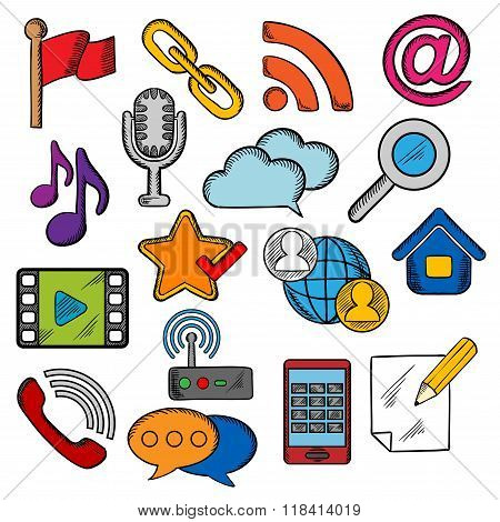 Multimedia and communication icons set