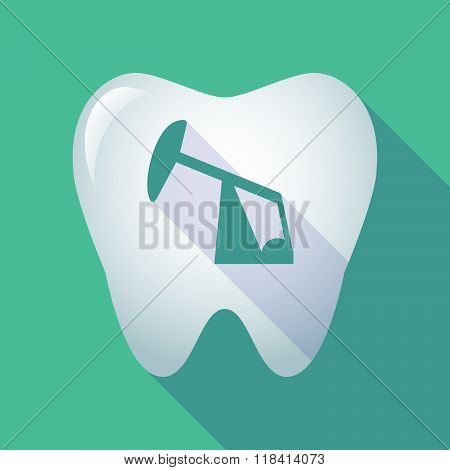 Long Shadow Tooth Icon With A Horsehead Pump