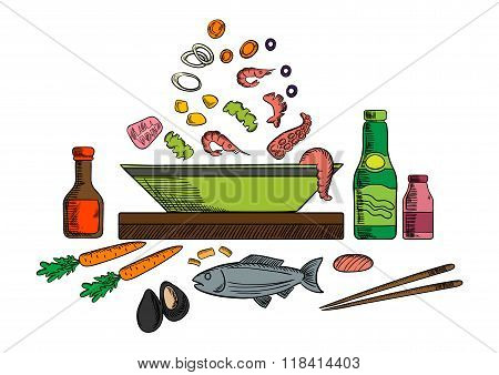 Seafood dish with salad ingredients