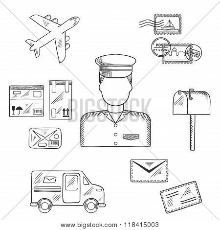 Postman and shipping sketch icons