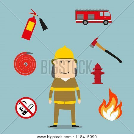 Powerful fireman with fire fighting tools