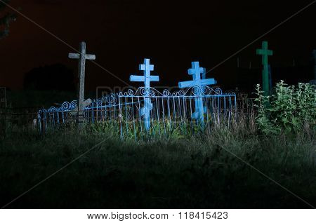 Old Cemetery In The Field At Night