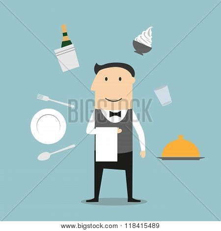 Waiter, restaurant utensil and food icons