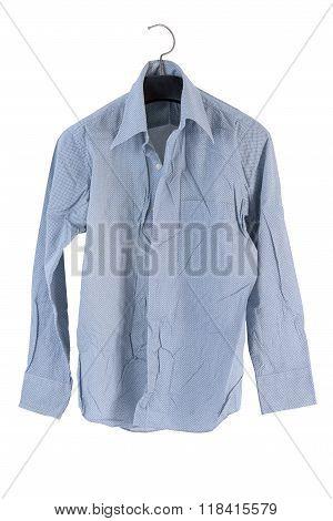 Creased Men Shirt Isolate On White Background