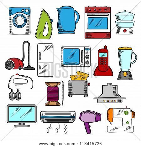 Home and kitchen appliances icons