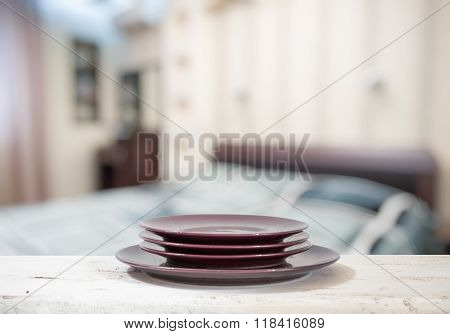 plates on white table in the bedroom