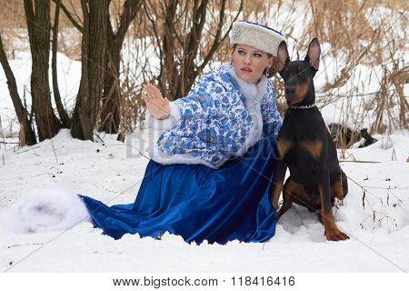 Young Russian Woman With Dog