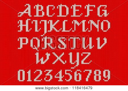 White Knitted Alphabet And Figures