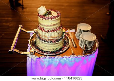 Multi-tiered wedding cake with cranberries and white rose at top, on trolley, knife, plates.