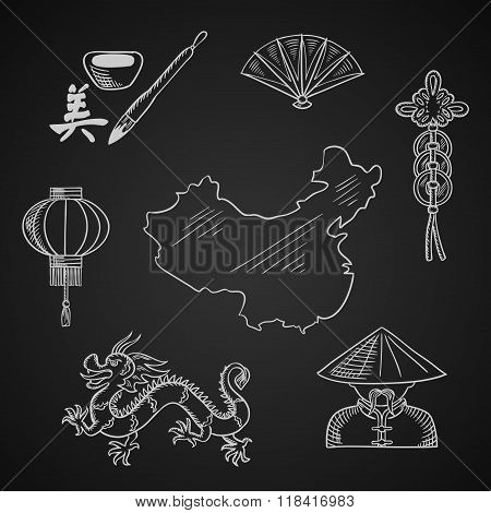 Chinese culture and art icons around a map
