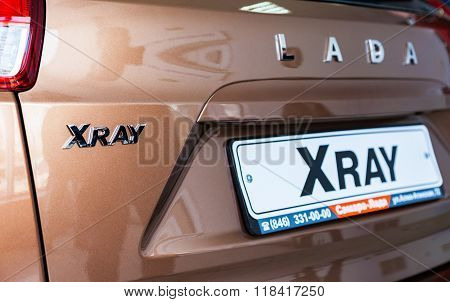Back Part Of The New Russian Car Lada Xray. Lada Is A Russian Automobile Manufacturer