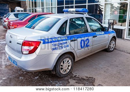 Russian Patrol Car Of The State Automobile Inspectorate In Winter Day