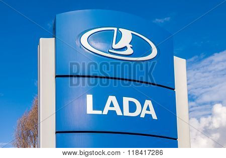 Official Dealership Sign Of Lada. Lada Is A Russian Automobile Manufacturer