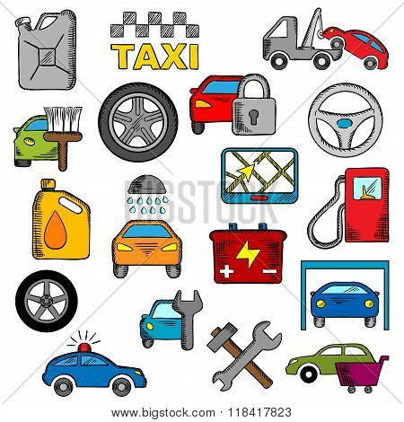 Car and repair service icons