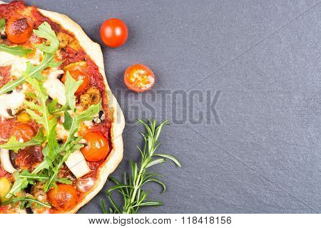 Homemade Pizza On Gray Slate Background