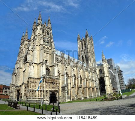 Panoramic View Of Canterbury Cathedral In Springtime, Uk