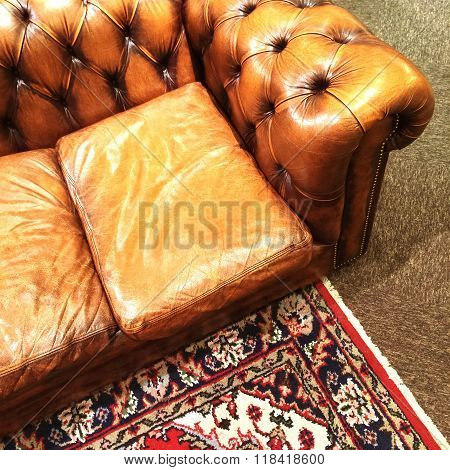 Luxurious Leather Sofa And Ornamental Rug