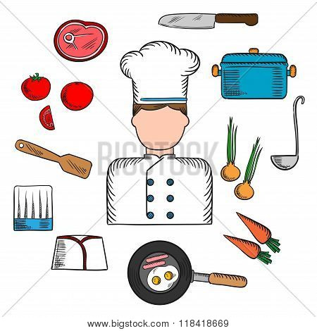 Chef profession with kitchen stuff icons