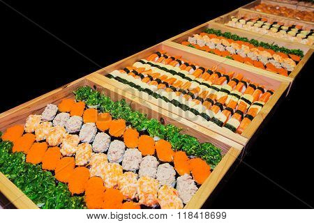 Including sushi Japanese food palatable  in wooden tray