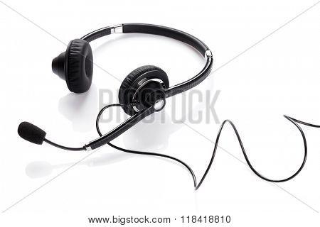 Helpdesk headset. Isolated on white background