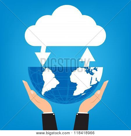 Two Hands Of Businessman Holding Globe With Connected Cloud On Blue Background. Vector Illustration