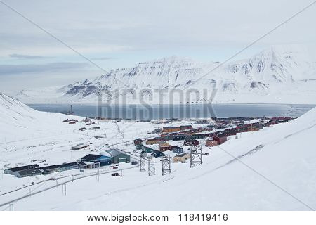 City View From Old Abandoned Coal Mine. Longyearbyen, Spitsbergen (svalbard). Norway