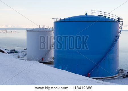 The Fuel Tanks In Longyearbyen, Spitsbergen (Svalbard). Norway.