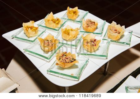 Tuna salad in a crispy wonton for coctail party. ** Note: Shallow depth of field