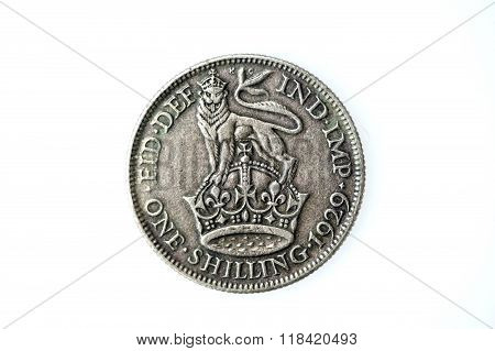 George V silver English shilling