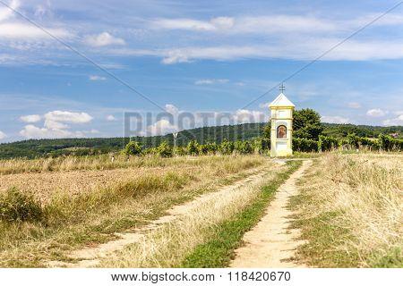 wayside with vineyard near Retz, Lower Austria, Austria