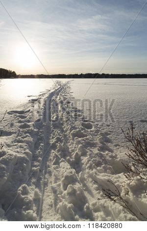 Cross Country Ski Tracks On Lake