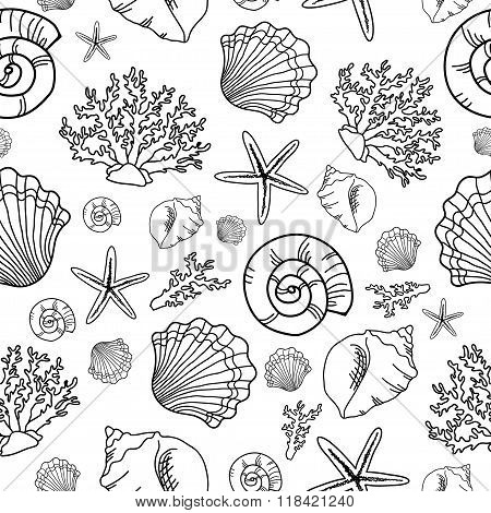Seamless pattern with seashell