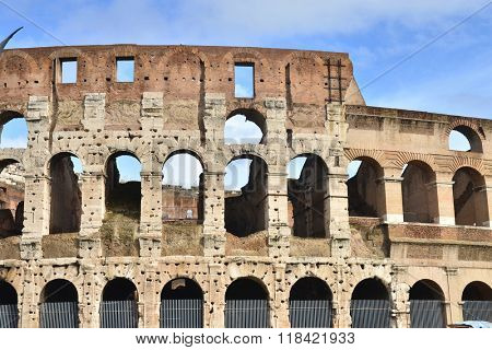 Ruins of Colosseum in Rome in Italy.