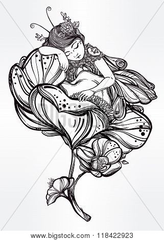 Little sleeping winged fairy. Vector illustration.