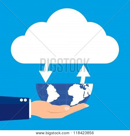 Businesman Holding Globe With Conneted Cloud On Blue Background. Vector Illustration Flat Design Clo