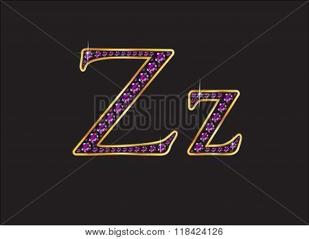 Zz Amethyst Jeweled Font With Gold Channels
