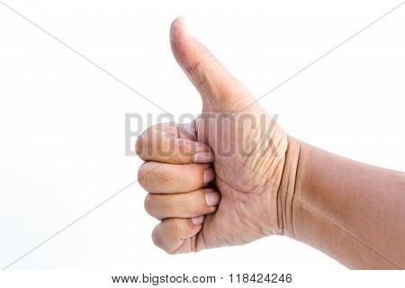 Man hand holding a thumb on a white background.