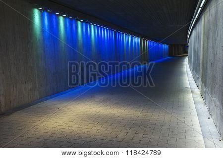 Empty Underground Concrete Tunnel