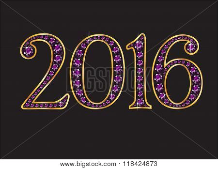 2016 Amethyst Jeweled Font With Gold Channels