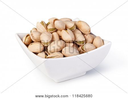 Pistachio nuts. Isolated on a white background.