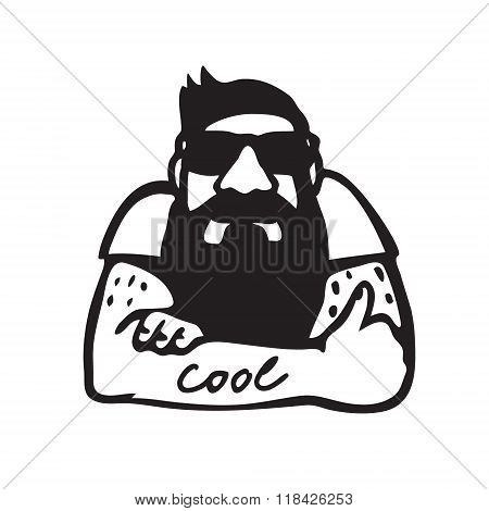 Bearded man in sunglasses giving a thumb up
