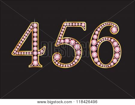 456 Rose Quartz Jeweled Font With Gold Channels