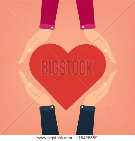 Flat Design Man Two Hands Giving Heart To Women. Vector Illustration Valentine Day I Love You Concep