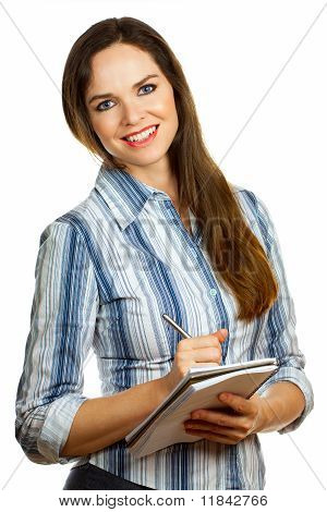 Isolated Portrait Of A Young Beautiful Business Woman Taking Notes