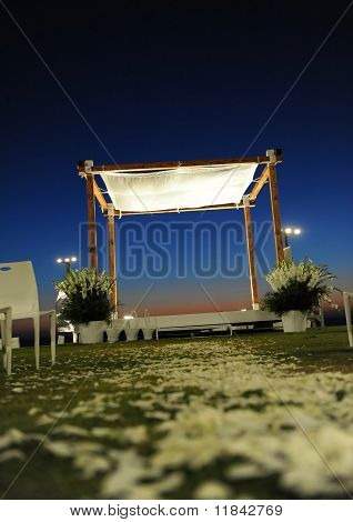 Jewish chuppah During Sunset