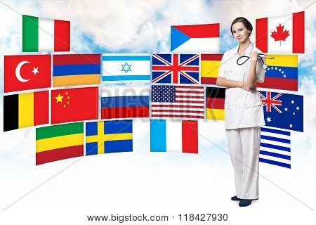 Woman and different countries flags
