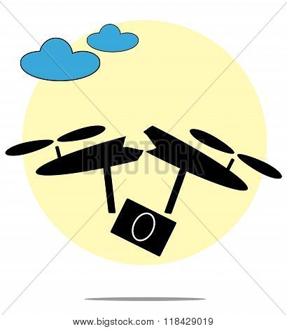 Illustration Of Broken Drone With Circle Background