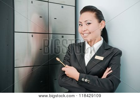 Young beautiful bank worker